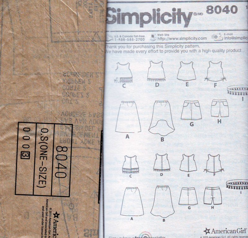 Image 2 of Simplicity 8040 Sewing Pattern for American Girl/18 Inch Doll Clothes 4 Outfits