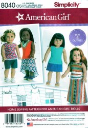 Simplicity 8040 Sewing Pattern for American Girl/18 Inch Doll Clothes 4 Outfits