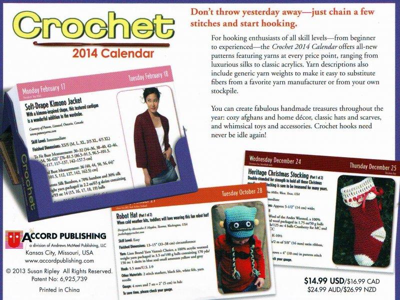 Image 1 of  Crochet Pattern-a-Day Calendar, Year 2014 , Susan Ripley, Like New