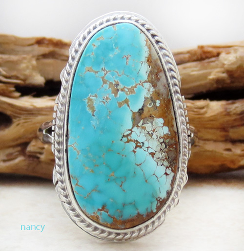 Navajo Made Turquoise & Sterling Silver Ring size 9 - 3179sn