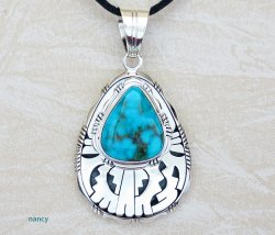 Kingman Turquoise & Sterling Silver Pendant Navajo Made - 2506at