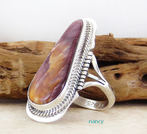 Image 1 of       Navajo Made Spiny Oyster & Sterling Silver Ring size 8.5 - 2367sn