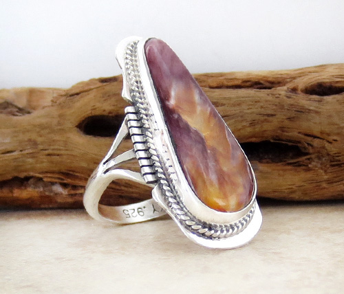 Image 2 of       Navajo Made Spiny Oyster & Sterling Silver Ring size 8.5 - 2367sn
