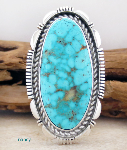 Navajo Made Turquoise & Sterling Silver Ring size 9 - 1875at