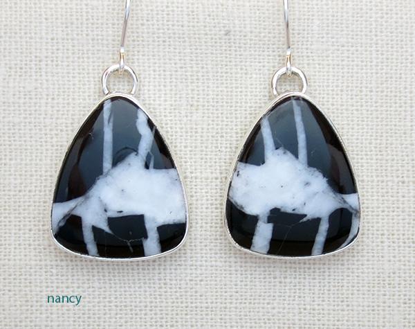 White Lightening Stone & Sterling Silver Earrings Navajo Made - 1975sn