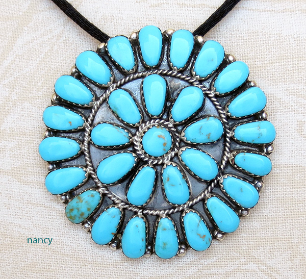 Turquoise Cluster & Sterling Silver Pendant / Pin Navajo Made - 2417rs