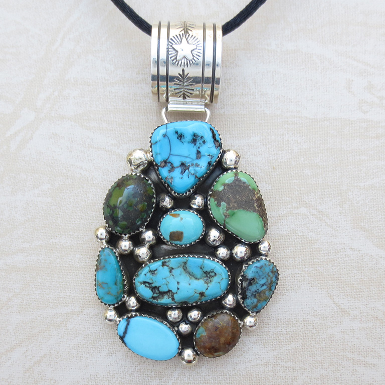 Image 0 of      Large Multi Turquoise & Sterling Silver Pendant Navajo Made - 1970rs