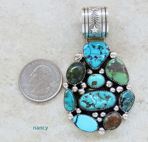 Image 1 of      Large Multi Turquoise & Sterling Silver Pendant Navajo Made - 1970rs