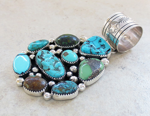 Image 3 of      Large Multi Turquoise & Sterling Silver Pendant Navajo Made - 1970rs