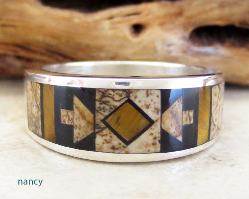 Navajo Inlay & Sterling Silver Ring size 9 - 1964at