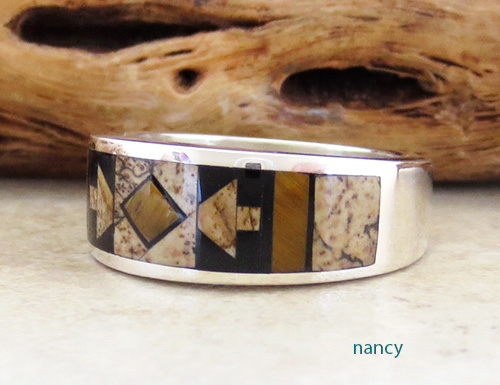 Image 1 of    Native American Jewelry Inlay & Sterling Silver Ring size 9 - 1964at