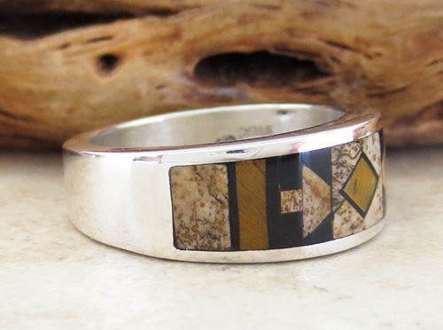 Image 2 of    Native American Jewelry Inlay & Sterling Silver Ring size 9 - 1964at