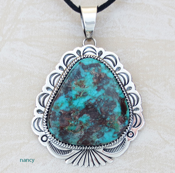 Natural Bisbee Turquoise & Sterling Silver Pendant Navajo Made - 2396skp