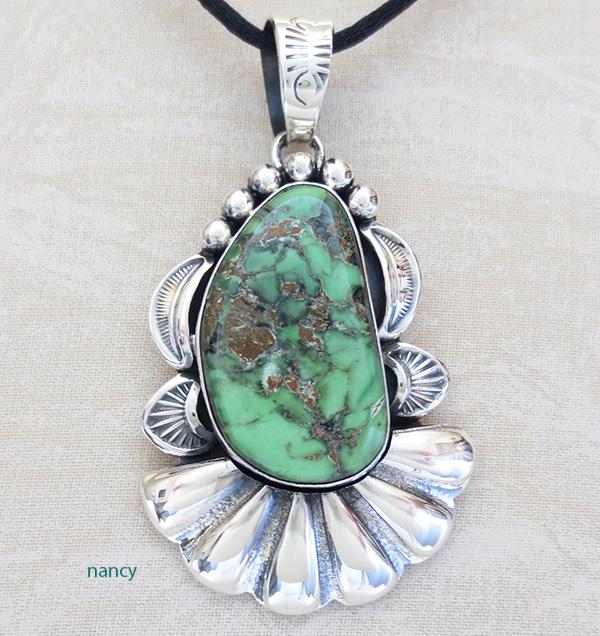 Natural Damele Turquoise & Sterling Silver Pendant Navajo Vandever - 1689skp