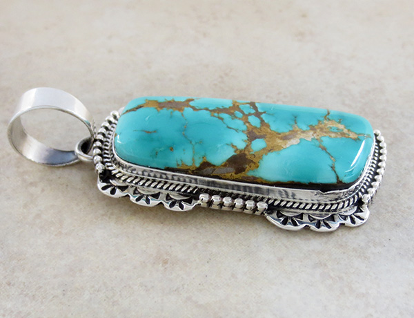 Image 3 of Natural Royston & Sterling Silver Pendant Navajo Made - 1892skp