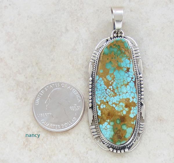 Image 1 of    Natural Turquoise & Sterling Silver Pendant Navajo Vandever - 2615skp