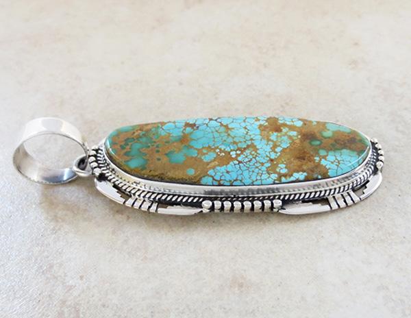 Image 3 of    Natural Turquoise & Sterling Silver Pendant Navajo Vandever - 2615skp