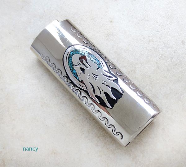 Nickel & Silver Turquoise Chip Inlay Lighter Case Navajo - 1987lc