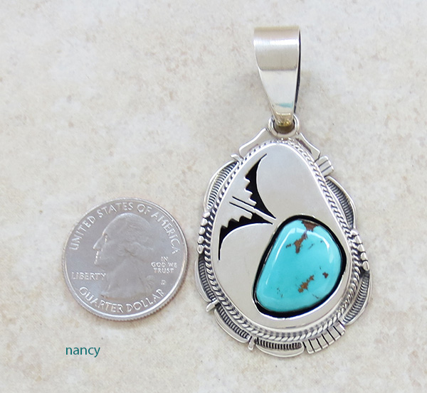Image 1 of  Navajo Made Turquoise & Sterling Silver Pendant Bennie Ration - 2621br