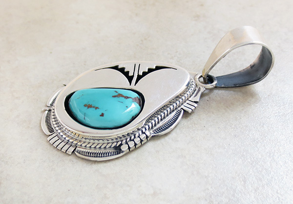 Image 3 of  Navajo Made Turquoise & Sterling Silver Pendant Bennie Ration - 2621br