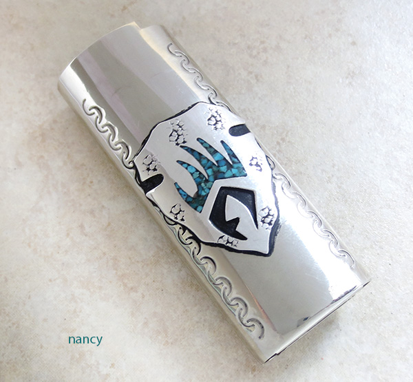 Nickel & Silver Turquoise Chip Inlay Lighter Case Navajo - 2398lc