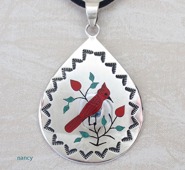 Red Cardinal Inlay Sterling Silver Pendant Navajo Made -1691rio