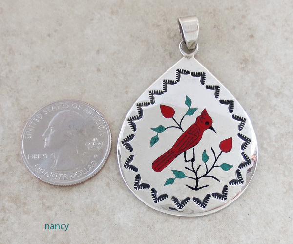 Image 1 of   Red Cardinal Inlay Sterling Silver Pendant Navajo Made -1691rio