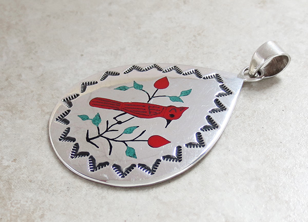 Image 3 of   Red Cardinal Inlay Sterling Silver Pendant Navajo Made -1691rio