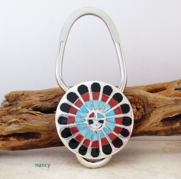 Image 0 of   Colorful Zuni Made Sun Face Turquoise Key Ring -1985rio