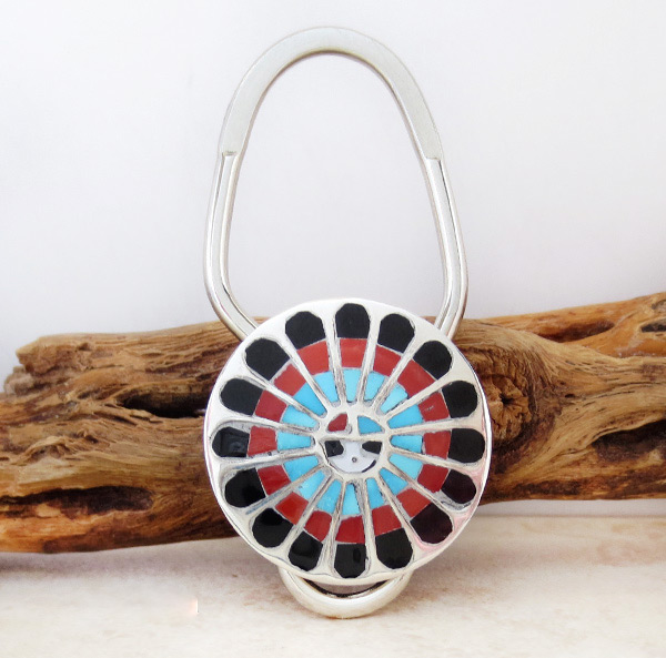 Colorful Zuni Made Sun Face Turquoise Key Ring -1985rio