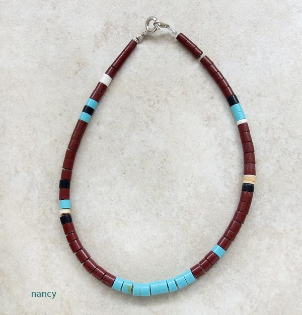 Turquoise Heishi Ankle Bracelet Santo Domingo 9.5 - 2623rio