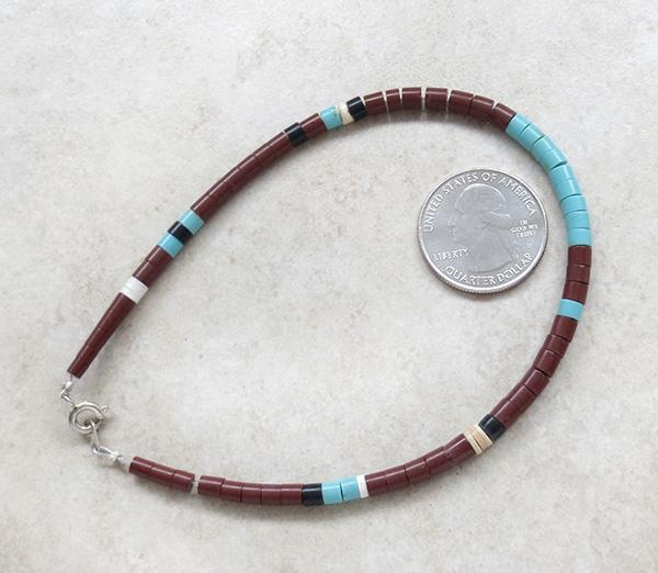 Image 2 of Turquoise Heishi Ankle Bracelet Santo Domingo 9.5