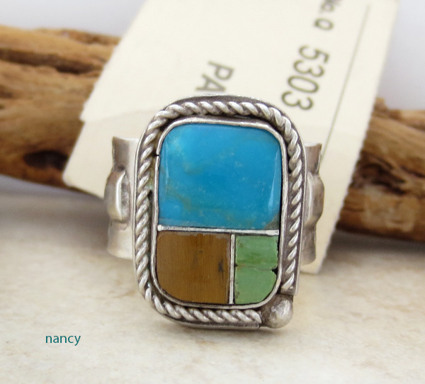 Old Pawn Navajo Turquoise Inlay & Sterling Silver Ring size 9.5 - 1687vt