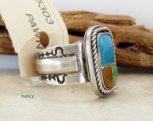 Image 1 of Old Pawn Navajo Turquoise Inlay & Sterling Silver Ring size 9.5 - 1687vt
