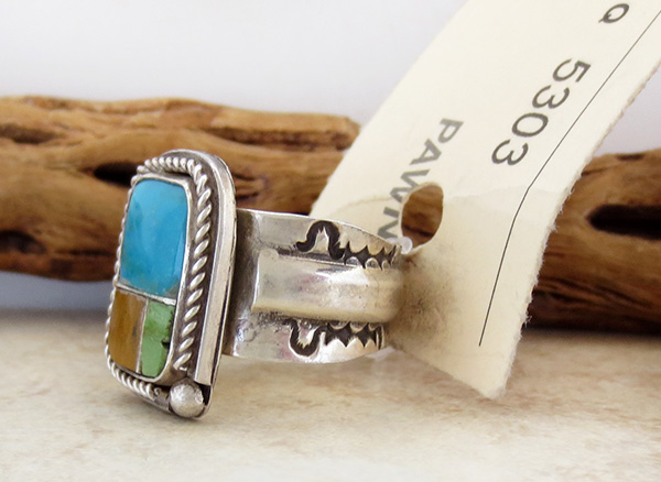 Image 2 of Old Pawn Navajo Turquoise Inlay & Sterling Silver Ring size 9.5 - 1687vt
