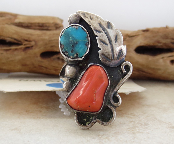 Vintage Pawn Turquoise & Coral Silver Ring Size 5.75 Navajo - 2608vt
