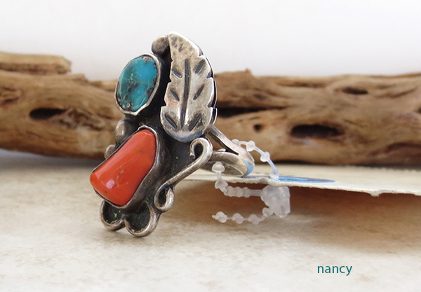 Image 1 of Vintage Pawn Turquoise & Coral Silver Ring Size 5.75 Navajo - 2608vt