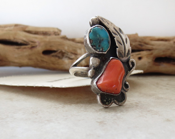 Image 2 of Vintage Pawn Turquoise & Coral Silver Ring Size 5.75 Navajo - 2608vt