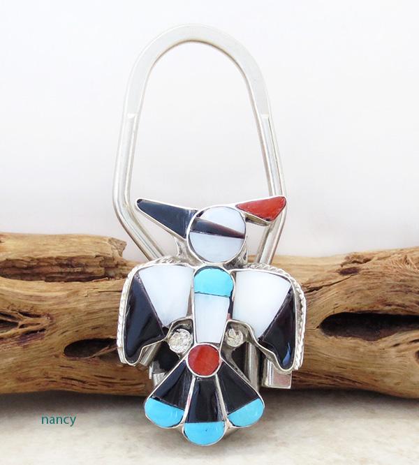 Zuni Made Turquoise Shell Thunderbird Key Ring - 1519rio