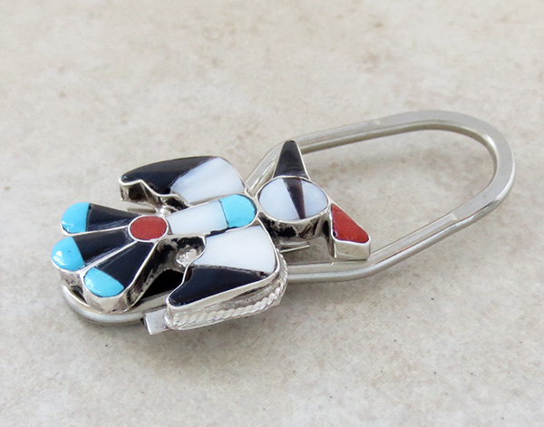 Image 1 of Zuni Made Turquoise Shell Thunderbird Key Ring - 1519rio