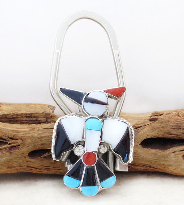 Image 0 of Zuni Made Turquoise Shell Thunderbird Key Ring - 1519rio