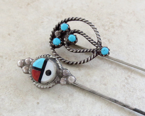 Native American Made Turquoise & Silver Hat / Stick Pins - 1047art