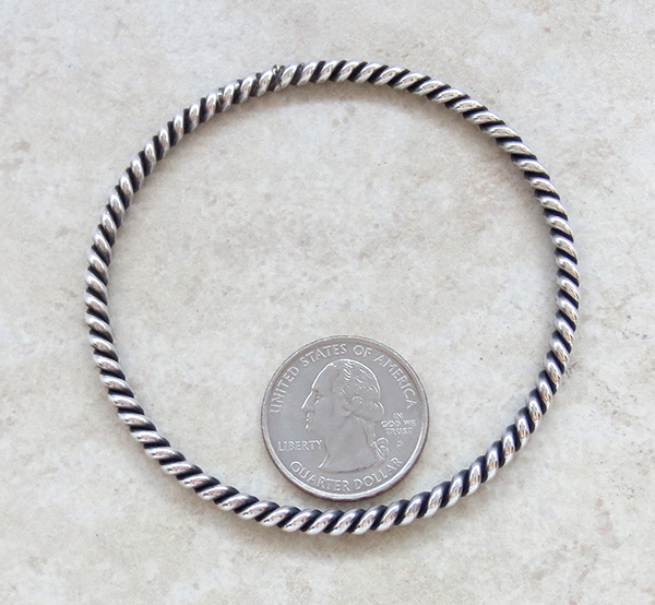 Image 2 of          Sterling Silver Bangle Bracelet Native American Jewelry - 2648rio
