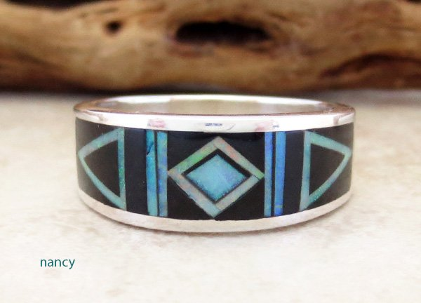 Black Jet & Opal Navajo Made Inlay & Sterling Silver Ring size 10.5
