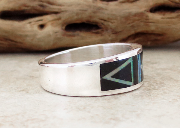 Image 1 of     Black Jet & Opal Navajo Made Inlay & Sterling Silver Ring size 10.5 - 2720at