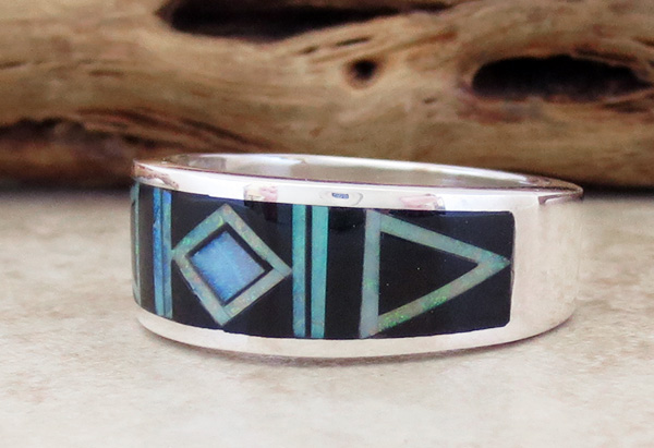 Image 2 of     Black Jet & Opal Navajo Made Inlay & Sterling Silver Ring size 10.5 - 2720at