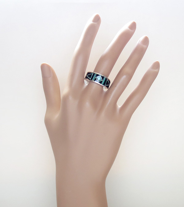 Image 5 of     Black Jet & Opal Navajo Made Inlay & Sterling Silver Ring size 10.5 - 2720at
