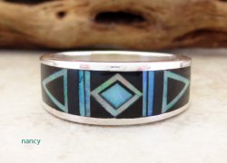 Black Jet & Opal Navajo Made Inlay & Sterling Silver Ring size 10.5 - 2720at
