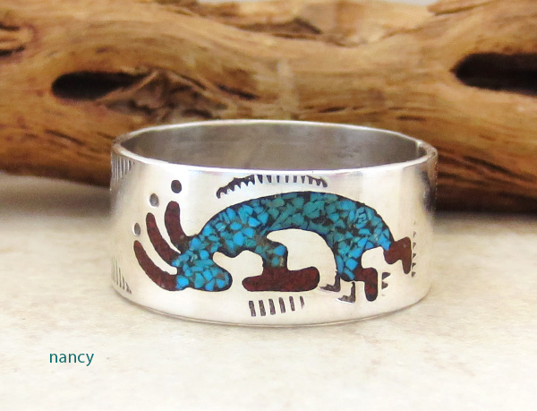 Navajo Turquoise & Coral Chip inlay & Sterling Silver Ring Size 12.25