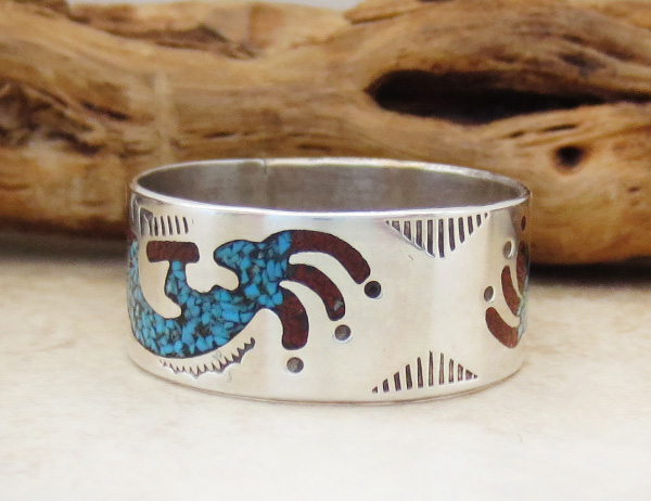 Image 1 of  Navajo Turquoise & Coral Chip inlay & Sterling Silver Ring Size 12.25 - 0726rio